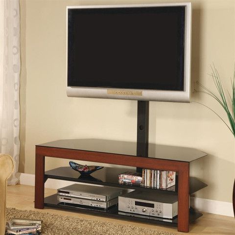 """Virginia Tv Stands For Tvs Up To 50"""" Pertaining To Most Popular Dark Cherry 50"""" Tv Stand With Black Glass Shelves (View 4 of 10)"""