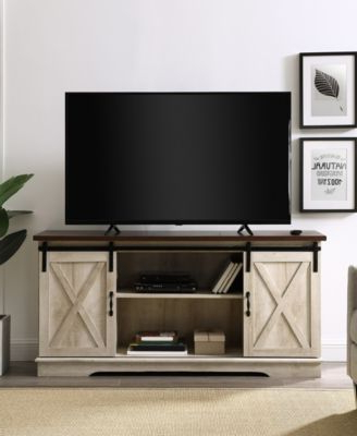 """Walker Edison 58"""" Farmhouse Tv Stand With Sliding Barn Within Most Current Tv Stands With Sliding Barn Door Console In Rustic Oak (View 9 of 10)"""