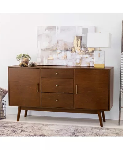 """Walker Edison Contemporary Tall Tv Stands Intended For 2018 Walker Edison 60"""" Mid Century Modern Wood Tv Console (View 10 of 10)"""