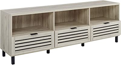 Walker Edison Contemporary Tall Tv Stands Within 2018 Amazon: Walker Edison Modern Slatted Wood  (View 9 of 10)