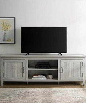 Walker Edison Farmhouse Tv Stands With Storage Cabinet Doors And Shelves Regarding Newest Walker Edison Furniture Company Modern Farmhouse Grooved (View 7 of 10)