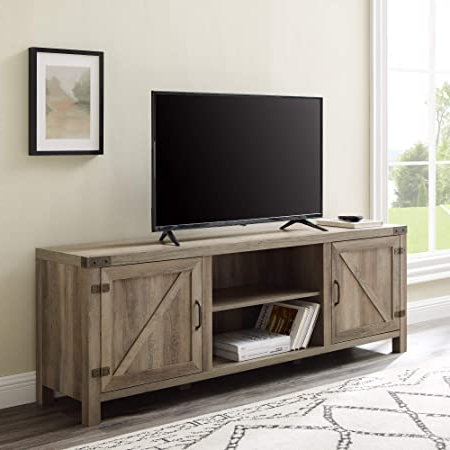 Walker Edison Farmhouse Tv Stands With Storage Cabinet Doors And Shelves With Most Up To Date Amazon: Walker Edison Industrial Modern Wood Universal (View 2 of 10)