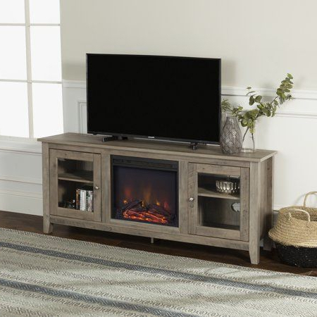 """Walker Edison Fireplace Tv Stand For Tvs Up To 60"""", Grey In Current Giltner Solid Wood Tv Stands For Tvs Up To 65"""" (View 8 of 10)"""