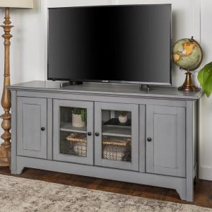 """Walker Edison Furniture Company Antique Grey Wood Highboy Within Latest Tv Stands With Cable Management For Tvs Up To 55"""" (View 5 of 10)"""
