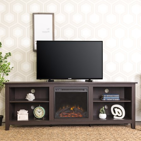 Walker Edison Traditional Fireplace Tv Stand For Tvs Up To With Regard To Favorite Woven Paths Open Storage Tv Stands With Multiple Finishes (View 8 of 10)