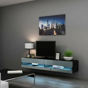 Wall Mounted Tv Stand 16 Color Led Floating Shelf Black Intended For Most Up To Date Rfiver Modern Black Floor Tv Stands (View 1 of 10)