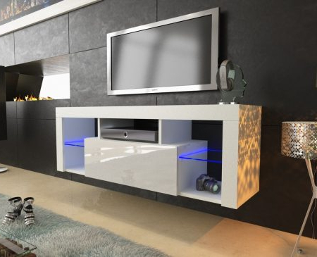 Well Known 130cm White Matt & Gloss Modern Tv Unit With Led Lights With Regard To Scandi 2 Drawer White Tv Media Unit Stands (View 1 of 10)