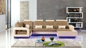 Well Known 4pc Modern Camel Cream Bonded Leather Sofa Chaise Chair For 4pc Beckett Contemporary Sectional Sofas And Ottoman Sets (View 2 of 10)