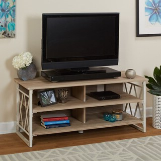 Well Known 57'' Tv Stands With Open Glass Shelves Gray & Black Finsh Intended For Shop Simple Living Seneca Xx 3 Shelf Grey/ Black Pier With (View 1 of 10)