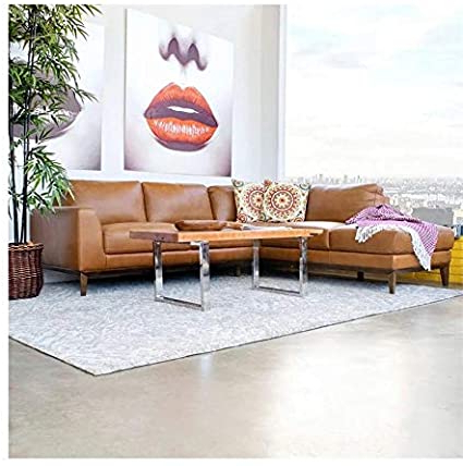 Well Known Alani Mid Century Modern Sectional Sofas With Chaise Inside Amazon: Ashcroft Mid Century Modern Milton Tan Leather (View 8 of 10)