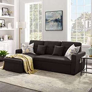 Well Known Amazon: 3 Seater Sofa Bed With Storage, Tribesigns 86 With Regard To Liberty Sectional Futon Sofas With Storage (View 10 of 10)