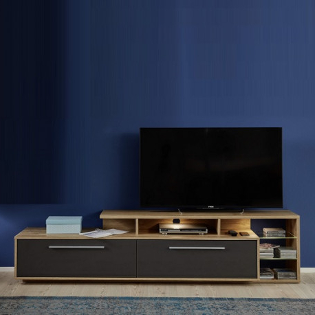 Well Known Cuba 212cm Tv Unit In Rustic Oak And Grey Gloss – Tv Within Richmond Tv Unit Stands (View 5 of 10)