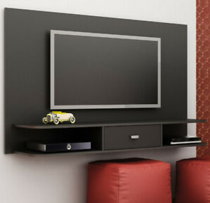 Well Known Floating Tv Shelf Wall Mounted Storage Shelf Modern Tv Stands Intended For Tv Stand Black Floating Shelf Wall Mounted Unit  (View 5 of 10)