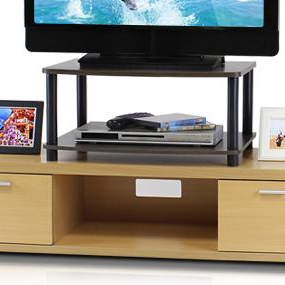 Well Known Furinno 2 Tier Elevated Tv Stands Within Amazon: Furinno Turn N Tube No Tools 2 Tier Elevated (View 9 of 10)