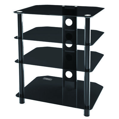 Well Known Glass Shelf With Tv Stands Inside Tekbox 4 Tier Tv Unit Black Glass Television Stand Base Hi (View 9 of 10)