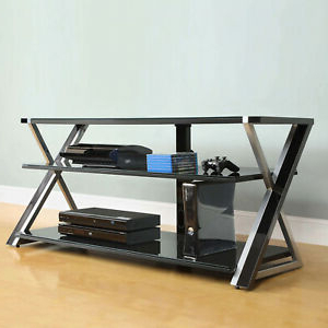 Well Known Glass Shelves Tv Stands Regarding 65 Inch Tv Stand Black With Tempered Glass Shelves For (View 5 of 10)