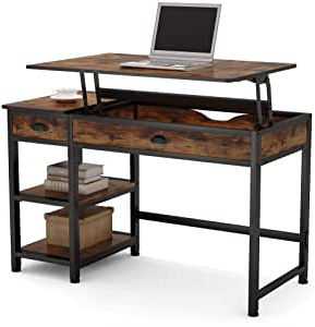 Well Known Industrial Tv Stands With Metal Legs Rustic Brown With Regard To Amazon: Tribesigns Industria Lift Top Computer Desk (View 5 of 10)