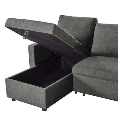 Well Known Liberty Sectional Futon Sofas With Storage Within Merton 3 Seater Corner Storage Futon Sofa Bed – Tweed (View 3 of 10)