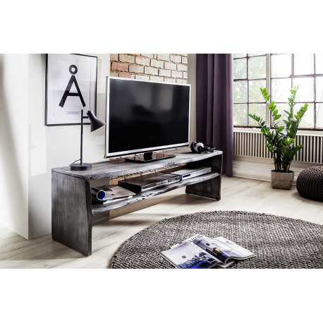 Well Known Modern Black Tv Stands On Wheels With Metal Cart Pertaining To Calabria Grey Acacia Wood Tv Unit – Furnitureroom (View 6 of 10)