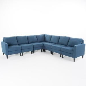 Well Known Noble House 7 Piece Dark Blue Polyester 6 Seater L Shaped With Paul Modular Sectional Sofas Blue (View 1 of 10)