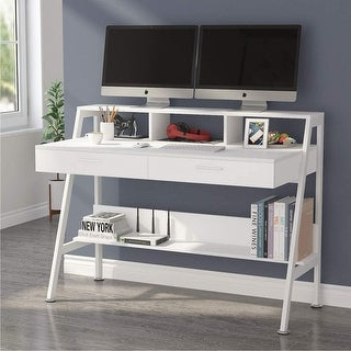 Well Known Space Saving Gaming Storage Tv Stands For Computer Desk With 2 Drawers, Storage Shelves And Monitor (View 2 of 10)