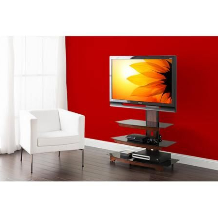 """Well Known Whalen 3 Tier Television Stand For Tvs Up To 50"""", Perfect For Floor Tv Stands With Swivel Mount And Tempered Glass Shelves For Storage (View 4 of 10)"""