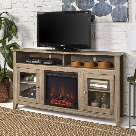Well Known Woven Paths Highboy Glass Door Fireplace Tv Stand For Tvs For Woven Paths Barn Door Tv Stands In Multiple Finishes (View 4 of 10)