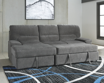 Well Known Yantis 2 Piece Sleeper Sectional With Storage – Icon Sales Throughout Hugo Chenille Upholstered Storage Sectional Futon Sofas (View 2 of 10)