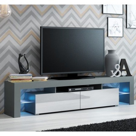 Well Known Zimtown Tv Stands With High Gloss Led Lights Pertaining To Bmf Solo Tv Stand 200cm Wide High Gloss Led Lights Modern (View 7 of 10)