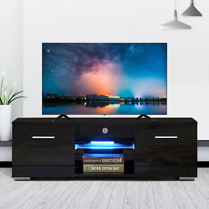"""Well Liked 47"""" Tv Stands High Gloss Tv Cabinet With 2 Drawers Within Modern Tv Stand Unit Cabinet W/ Led Shelves 2 Drawers (View 7 of 10)"""