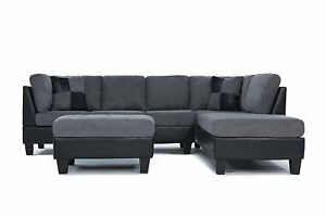 Well Liked Microfiber And Faux Leather 2 Tone Sectional Sofa With Noa Sectional Sofas With Ottoman Gray (View 5 of 10)