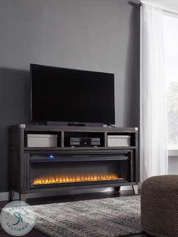 Well Liked Todoe Gray Lg Tv Stand With Wide Fireplace Insert From With Regard To Deco Wide Tv Stands (View 8 of 10)