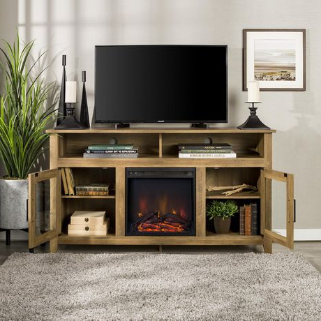 """Well Liked Tribeca Oak Tv Media Stand Within 58"""" Wood Highboy Fireplace Tv Stand – Rustic Oak (View 9 of 10)"""