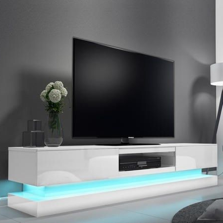 Well Liked Zimtown Tv Stands With High Gloss Led Lights With Regard To Buy Evoque Led White High Gloss Tv Unit With Lower (View 2 of 10)