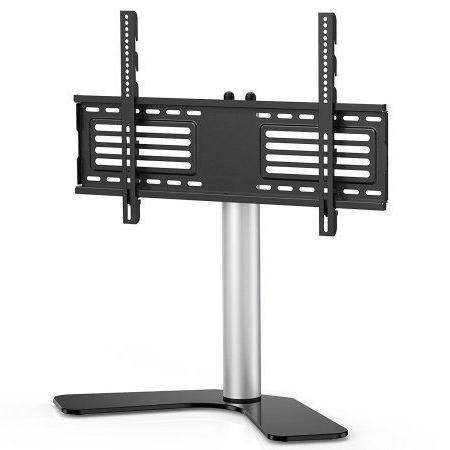 """Whalen Furniture Black Tv Stands For 65"""" Flat Panel Tvs With Tempered Glass Shelves Throughout Newest Fitueyes Universal Swivel Tabletop Tv Stand Base For Up To (View 8 of 10)"""