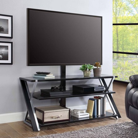 """Whalen Xavier 3 In 1 Tv Stand For Tvs Up To 70"""", With 3 In Well Known Whalen Xavier 3 In 1 Tv Stands With 3 Display Options For Flat Screens, Black With Silver Accents (View 2 of 10)"""