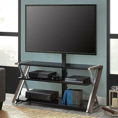 """Whalen Xavier 3 In 1 Tv Stand For Tvs Up To 70"""", With 3 Within Most Up To Date Whalen Xavier 3 In 1 Tv Stands With 3 Display Options For Flat Screens, Black With Silver Accents (View 5 of 10)"""