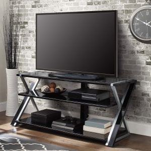 Whalen Xavier 3 In 1 Tv Stand For Tvs Up To 70″, With 3 With Regard To 2017 Whalen Xavier 3 In 1 Tv Stands With 3 Display Options For Flat Screens, Black With Silver Accents (View 7 of 10)