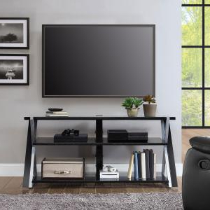 Whalen Xavier 3 In 1 Tv Stand For Tvs Up To 70″, With 3 With Regard To Well Known Whalen Xavier 3 In 1 Tv Stands With 3 Display Options For Flat Screens, Black With Silver Accents (View 8 of 10)