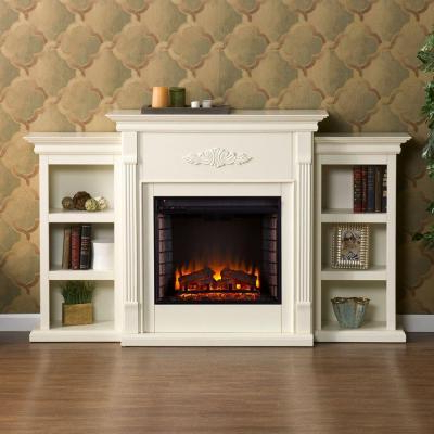 White – Electric Fireplaces – Fireplaces – The Home Depot For Popular Twin Star Home Terryville Barn Door Tv Stands (View 6 of 10)