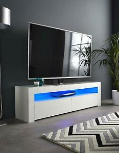 White High Gloss Tv Stand Cabinet Corner Entertainment Within 2018 Zimtown Tv Stands With High Gloss Led Lights (View 3 of 10)