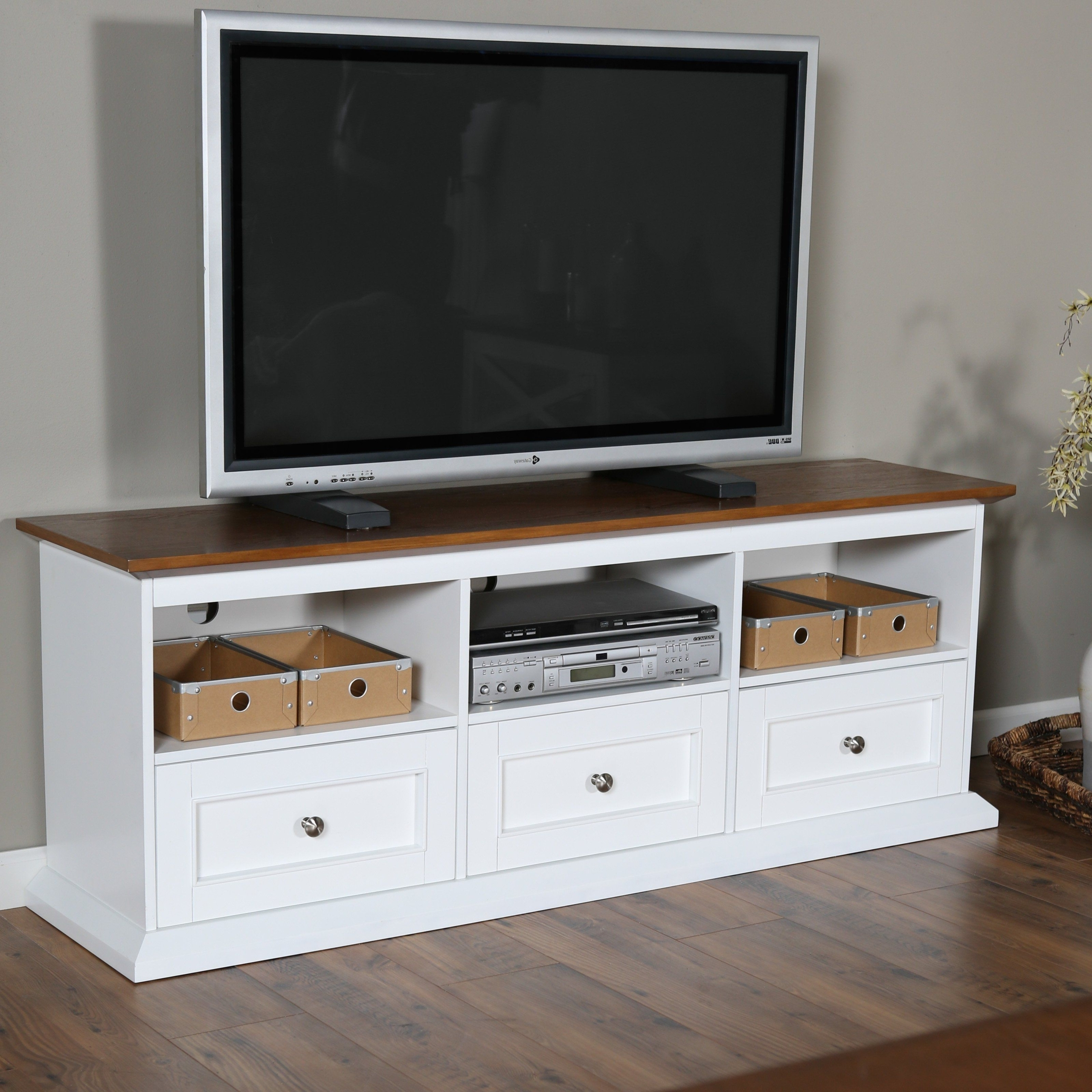 White Oak Tv Stand – Ideas On Foter Regarding Well Liked Modern 2 Glass Door Corner Tv Stands (View 1 of 10)