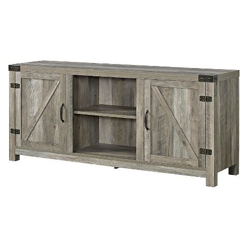 """Widely Used 2 Door Modern Farmhouse Barn Door Tv Stand For Tvs Up To Throughout Modern Farmhouse Style 58"""" Tv Stands With Sliding Barn Door (View 1 of 10)"""