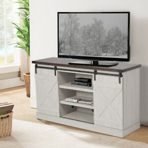 """Widely Used 65"""" Tv Stand Brown Farmhouse Barn Sliding Door Cabinet For Modern 2 Glass Door Corner Tv Stands (View 6 of 10)"""
