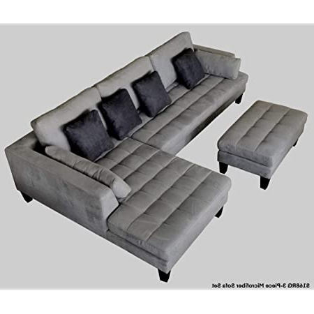 Widely Used Amazon: 3pc Contemporary Grey Microfiber Sectional With Regard To Somerset Velvet Mid Century Modern Right Sectional Sofas (View 9 of 10)