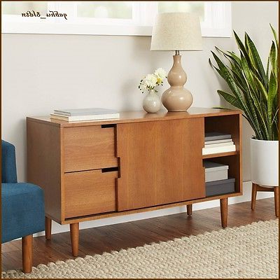 Widely Used Better Homes & Gardens Herringbone Tv Stands With Multiple Finishes In Mid Century Modern Wood Warm Pecan Finish Credenza Bar (View 2 of 10)