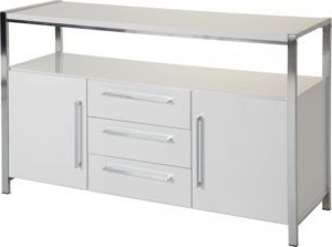 Widely Used Charisma 2 Door 3 Drawer Sideboard – White Gloss/chrome In Charisma Tv Stands (View 2 of 10)