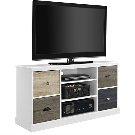Widely Used Mainstays 4 Cube Tv Stands In Multiple Finishes Inside White Wood Finish Tv Stand With Multi Wood Grain Finish (View 1 of 10)