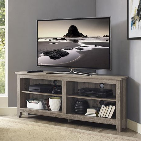 """Widely Used Manor Park Simple Farmhouse Corner Tv Stand For Tv's Up To Within 60"""" Corner Tv Stands Washed Oak (View 7 of 10)"""