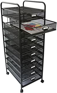 Widely Used Modern Black Tv Stands On Wheels With Metal Cart For Amazon: Design Ideas Mesh Art Cart, 10 Drawer, Black (View 2 of 10)
